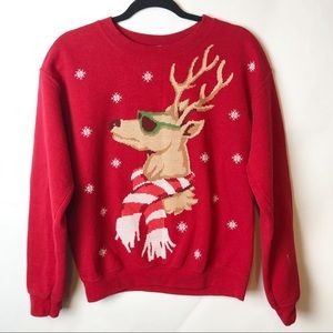 Red Reindeer Sweatshirt Ugly Christmas Sweatshirt